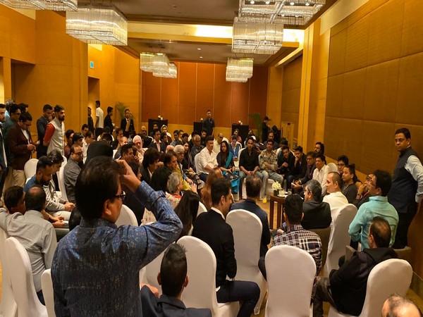 Union Minister Piyush Goyal interacting with B-Town celebrities in Mumbai on Sunday. (Photo/ANI)