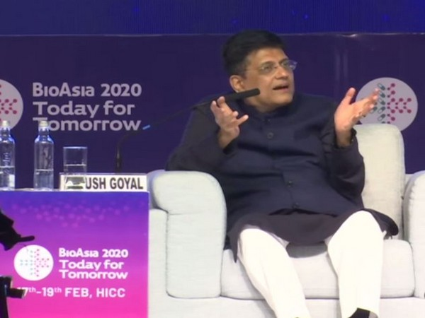 Union Minister Piyush Goyal speaking at an event in Hyderabad on Tuesday. Photo/ANI