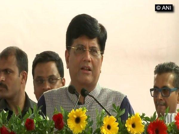 Railways Minister Piyush Goyal speaking at an event in Mumvbai on Sunday Photo/ANI