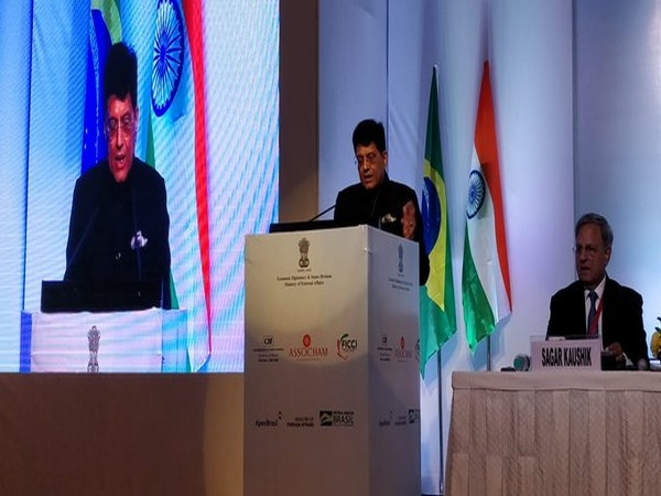 Railway Minister Piyush Goyal addressing the India-Brazil Business Forum in New Delhi on Monday. (Photo/ANI)