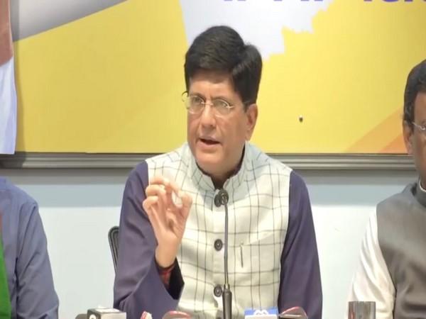 Union minister Piyush Goyal addressing a press conference in Mumbai on Thursday. Photo/ANI