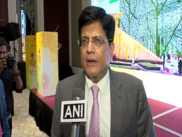 Union Commerce and Industry minister Piyush Goyal speaking to ANI in Dubai on Saturday. Photo/ANI