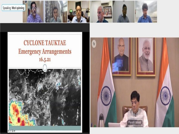 Union Ministers Piyush goyal and Mansukh Mandaviya interact about Cyclone Tauktae (Photo/Twitter)