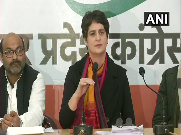 Congress leader Priyanka Gandhi Vadra addressing a press conference in Lucknow on Monday. Photo/ANI