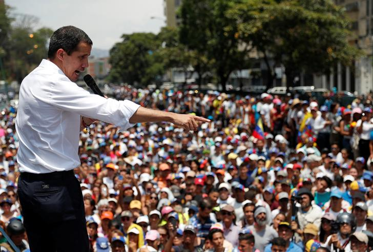 Juan Guaido Speaking before his supporters during a rally against the government of Venezuela's President Nicolas Maduro on Wednesday (Photo: Reuters)