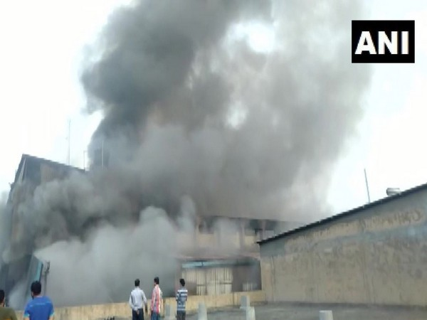 Visuals from the incident site where a massive fire has broke out in a cloth factory in the Pandesara area of Surat in Gujarat. Photo/ANI