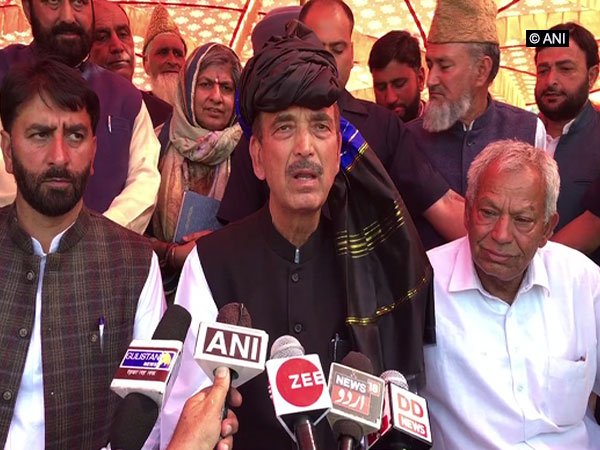 Congress leader Ghulam Nabi Azad talking to media persons at Poonch on Tuesday.