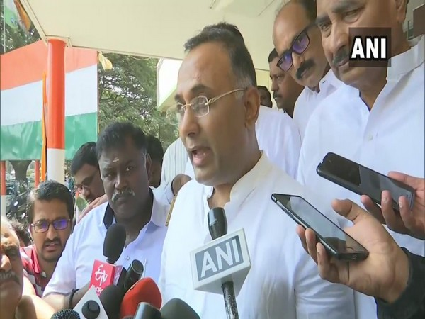 Congress leader Dinesh Gundu Rao speaking to reporters on Thursday. Photo/ANI