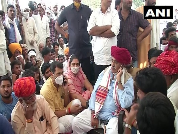 Gurjar leader Kirori Singh Bainsla during protest in Rajasthan's Bharatpur on Wednesday. Photo/ANI