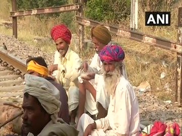 Visuals from the protest on railway tracks in Bharatpur on Thursday. Photo/ANI