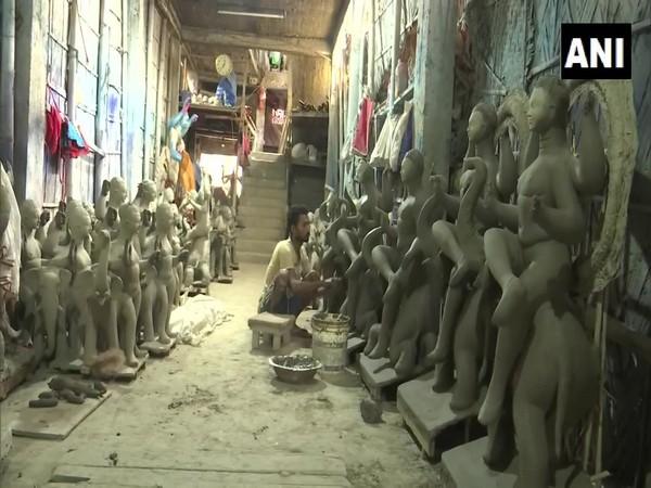 An Idol maker in Guwahati. (Photo/ANI)