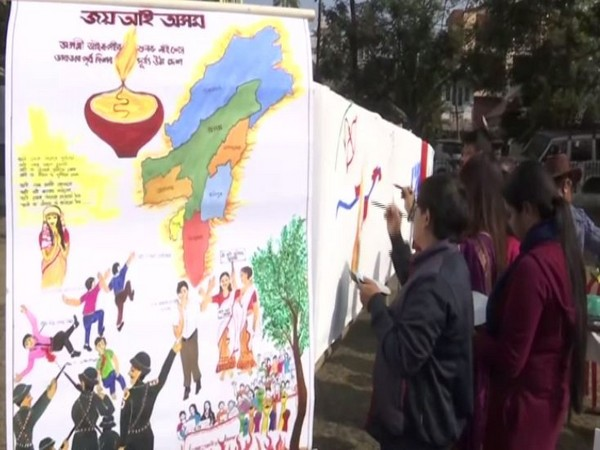 A visual from the protest carried out by artists in Guwahati on Wednesday. Photo/ANI
