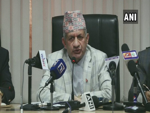 Nepal Foreign Minister Pradeep Gyawali speaking to reporters in Kathmandu on Monday.