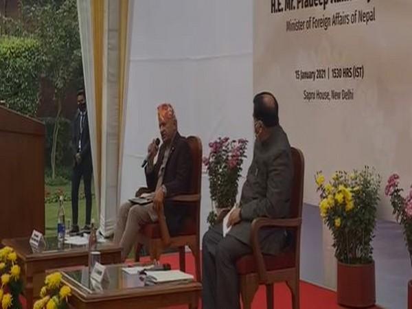 Nepal Foreign Minister Pradeep Kumar Gyawali speaking at Sapru House on Friday.