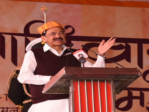 Vice President M Venkaiah Naidu addressing the gathering at the Adivasi Mahotsav-- 2020, at Ramnagar, Mandla, Madhya Pradesh on Feb 15, 2020. Photo/ANI