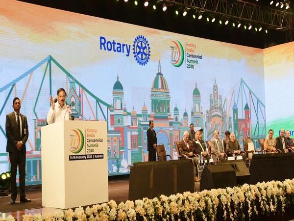 Vice President M Venkaiah Naidu addressing the Centennial Summit 2020 of Rotary India in Kolkata on Sunday. Photo/ANI