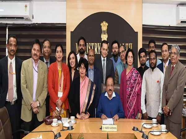 Dr. Harsh Vardhan with recipients of the Letters of Appreciation from PM for the Wuhan evacuation, at a function, in New Delhi on February 17. Photo/ANI