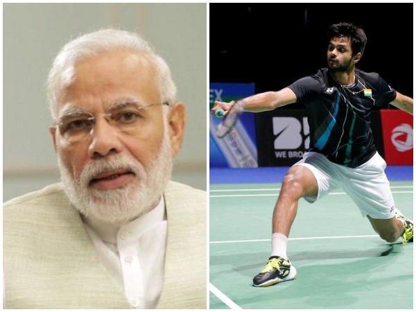 Prime Minister Narendra Modi (file photo) and Indian shuttler Sai Praneeth (Photo courtsey: Reuters)