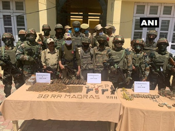 A terrorist hideout busted by the security forces in Rajouri district on Saturday.