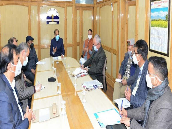 Himachal Pradesh Chief Minister Jairam Thakur with official during a review meeting on COVID-19 situation.