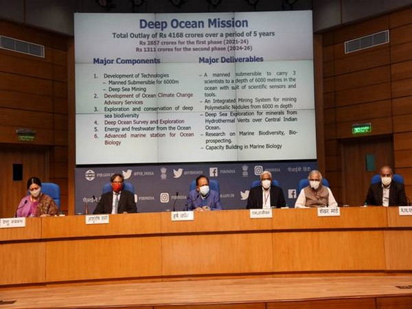 Union Minister for Science and Technology Dr Harsh Vardhan along with officials during a press conference in New Delhi on Monday. (Photo/ANI)