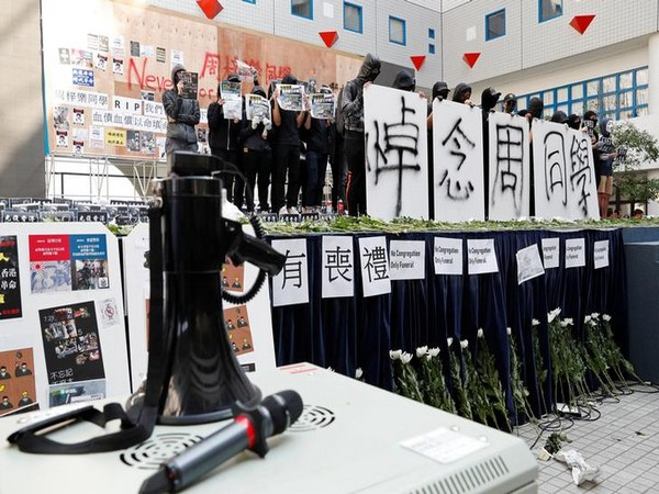 Students attend a ceremony to pay tribute to Chow Tsz-lok at the Hong Kong University of Science and Technology on Friday