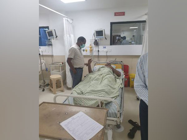 The jawan, got  injured in IED blast by Naxal taking treatment at hospital on Tuesday. (Photo/ANI)