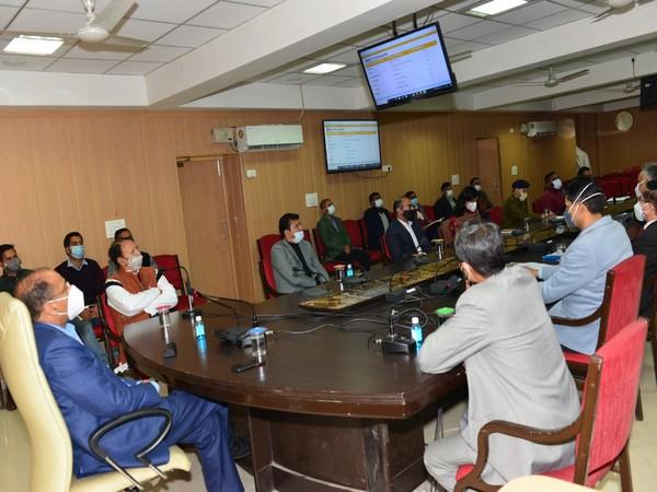 Himachal Pradesh CM chairs a meeting to take a stock of COVID-19 sitation (Photo ANI)