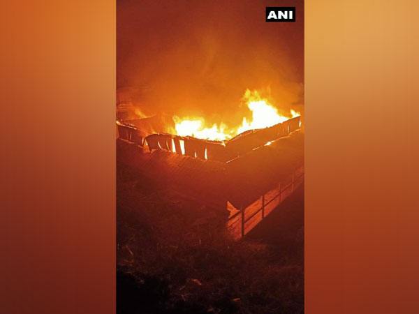 A four-storey house gutted in fire at Gujandli village (Photo ANI)