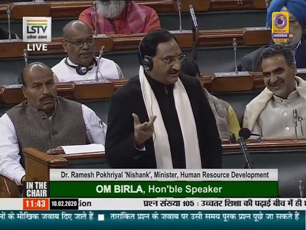 HRD Minister Ramesh Pokhriyal speaking in the Lok Sabha on Monday