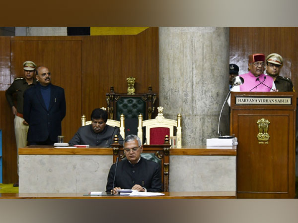 Haryana Governor Satyadeo Narain Arya addressing the Vidhan Sabha on Thursday, the first day of the Budget Session. Photo/ANI