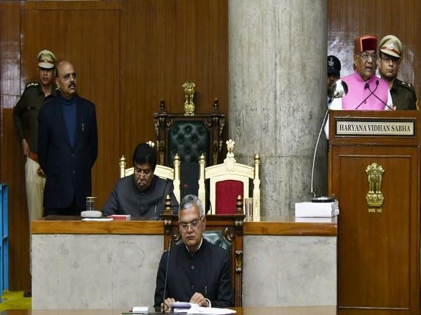 Haryana Governor Satyadeo Narain Arya addressing the Vidhan Sabha on Thursday, the first day of the Budget Session. Photo/ANI