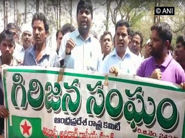 Andhra Pradesh Tribal Union protesting in front of Sub Collector Office in Paderu, Andhra Pradesh on Saturday.