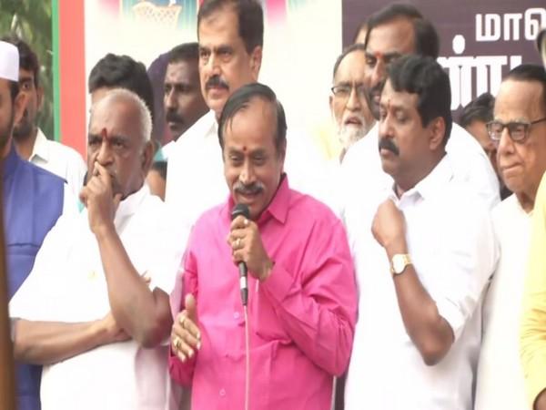 BJP national secretary, H Raja speaking at a public rally in Chennai. Photo/ANI