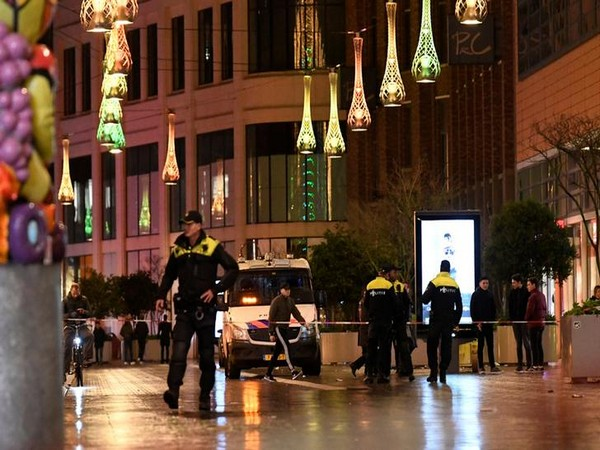 Police at the spot of the stabbing incident in The Hague on Friday.
