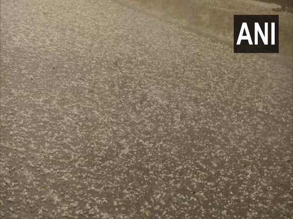Visuals of hail falling on a road near Kashmere Gate in Delhi on Thursday.