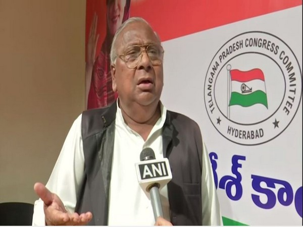 Congress leader V hanumantha Rao speaking to ANI on Wednesday in Hyderabad (Photo/ANI)