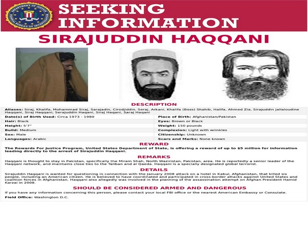 The 'Seeking Information' poster issued by the FBI for Sirajuddin Haqqani, who is Afghanistan's newly appointed acting interior minister.  (Photo Credit - Reuters)