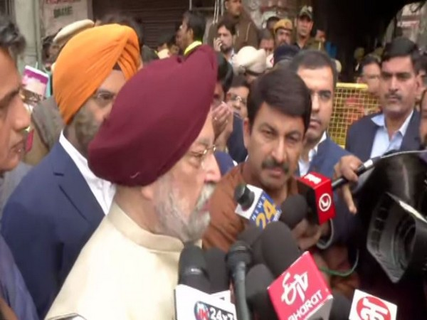 Union Minister Hardeep Singh Puri speaking to reporters in New Delhi on Sunday. Photo/ANI