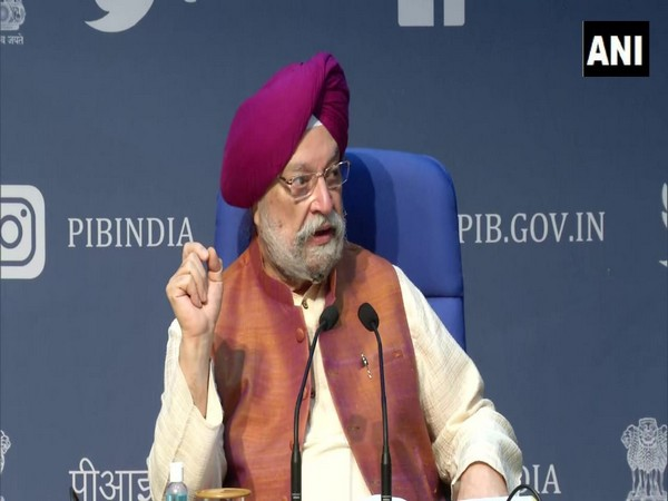 Civil Aviation Minister Hardeep Singh Puri addressing a press conference in New Delhi on Thursday. Photo/ANI