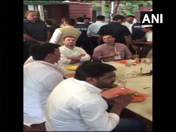 Congress leaders Rahul Gandhi, Hardik Patel and other state party leaders having lunch at a restaurant in Ahmedabad on Friday.
