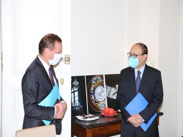 Foreign Secretary Harsh Vardhan Shringla met Emmanuel Bonne, Diplomatic Advisor to French President Emmanuel Macron on Thursday. (Photo Credit: Indian Embassy in France)