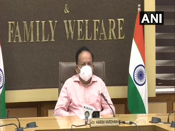 Union Health Minister Dr Harsh Vardhan speaking at the meeting World Bank- International Monetary Fund (IMF) annual meeting on Wednesday. Photo/ANI