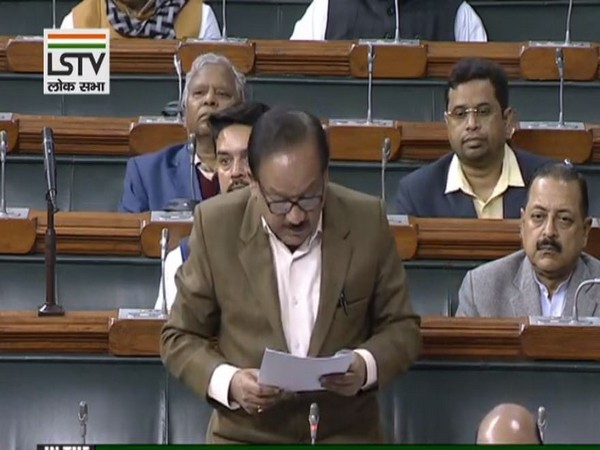Union Health Minister Dr Harsh Vardhan in the Lok Sabha on Monday. Photo/LSTV