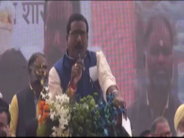 MP Minister Harsh Yadav speaking at an event in Sagar University on Sunday. Photo/ANI