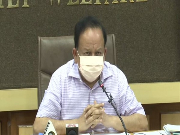 Union Health Minister Dr Harsh Vardhan speaking to the reporters on Monday. (Photo/ANI)