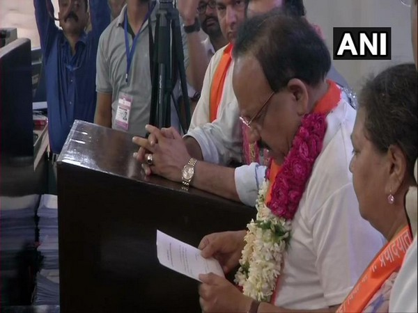 Union Minister Dr Harsh Vardhan while filing his nominations papers from Chandni Chowk constituency in Delhi on Monday. Photo/ ANI