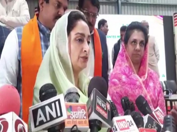 Union Minister Harsimrat Kaur Badal speaking to reporters in Dewas on Thursday. Photo/ANI