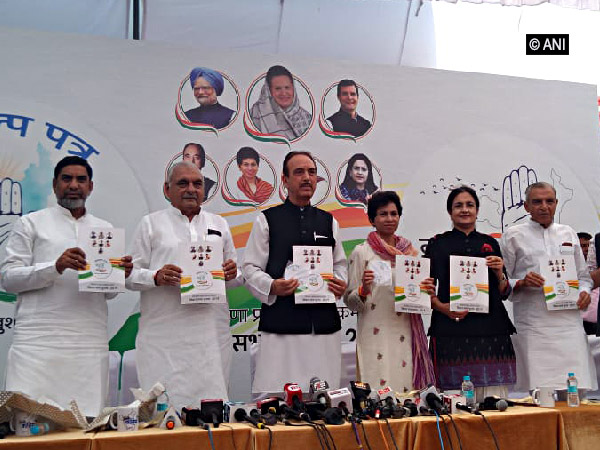 Congress leaders releasing party manifesto for Haryana assembly elections in Chandigarh on Friday.