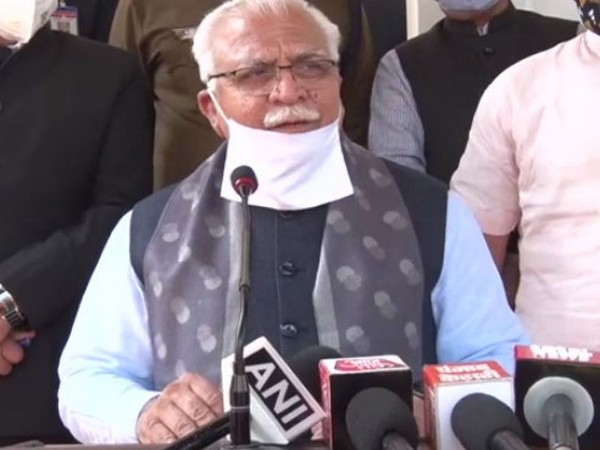 Haryana Chief Minister Manohar Lal Khattar speaking during a press conference on Saturday.